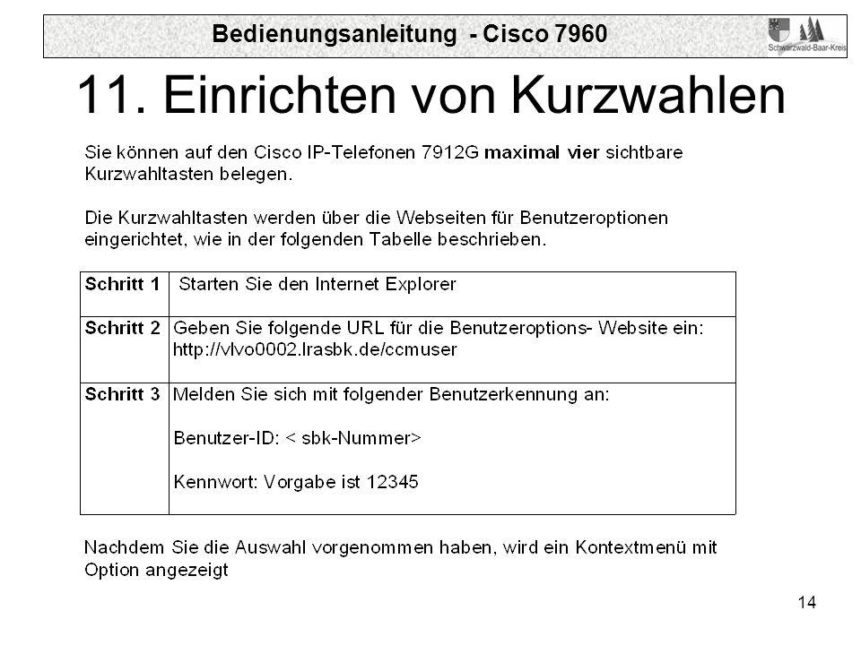 Bedienungsanleitung - Cisco 7960 14 11. Einrichten von Kurzwahlen