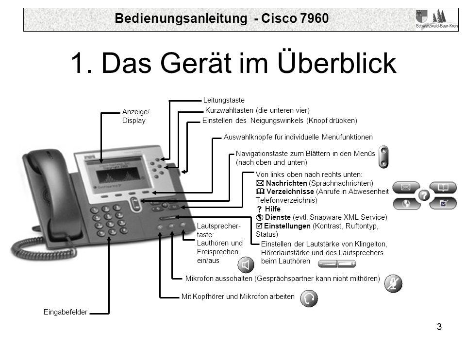 Bedienungsanleitung - Cisco 7960 3 1. Das Gerät im Überblick Einstellen des Neigungswinkels (Knopf drücken) Auswahlknöpfe für individuelle Menüfunktio