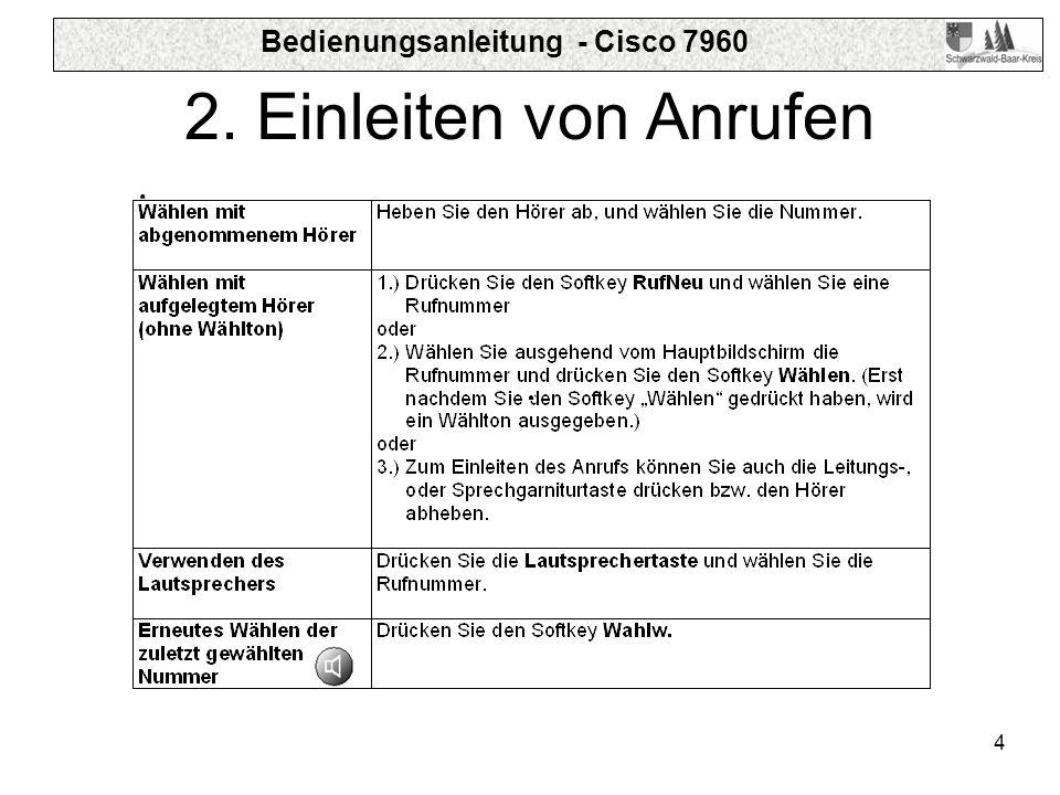 Bedienungsanleitung - Cisco 7960 4 2. Einleiten von Anrufen