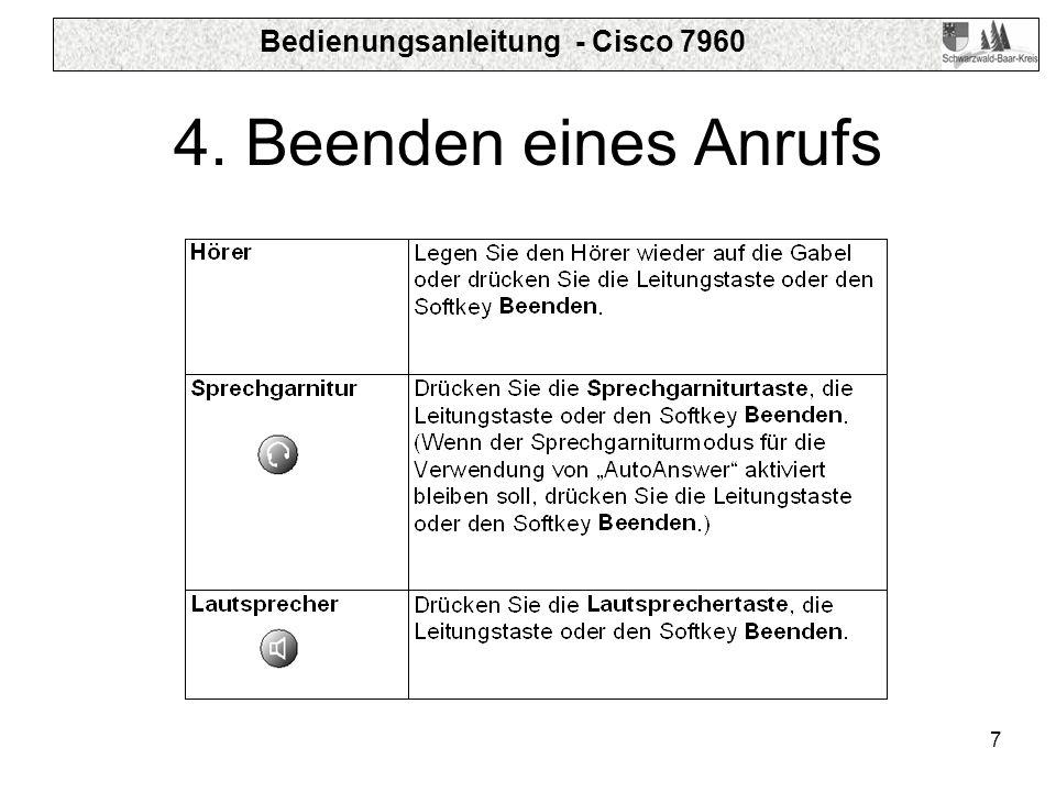 Bedienungsanleitung - Cisco 7960 7 4. Beenden eines Anrufs