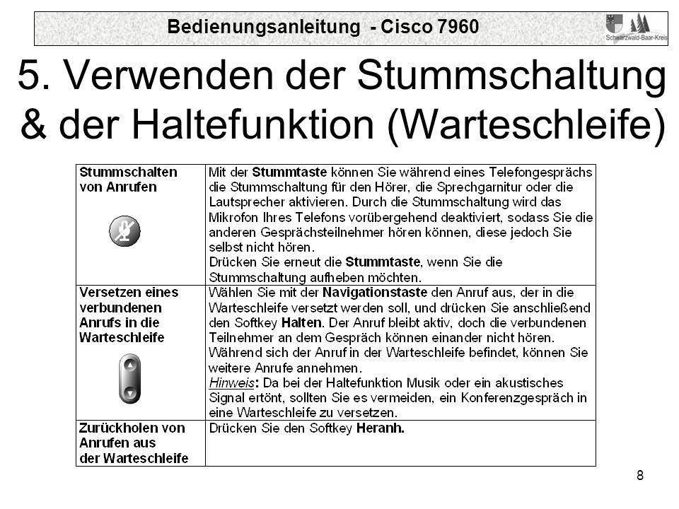 Bedienungsanleitung - Cisco 7960 8 5. Verwenden der Stummschaltung & der Haltefunktion (Warteschleife)