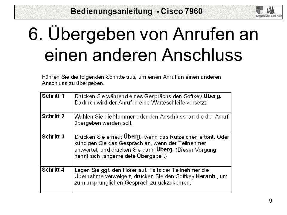 Bedienungsanleitung - Cisco 7960 9 6. Übergeben von Anrufen an einen anderen Anschluss