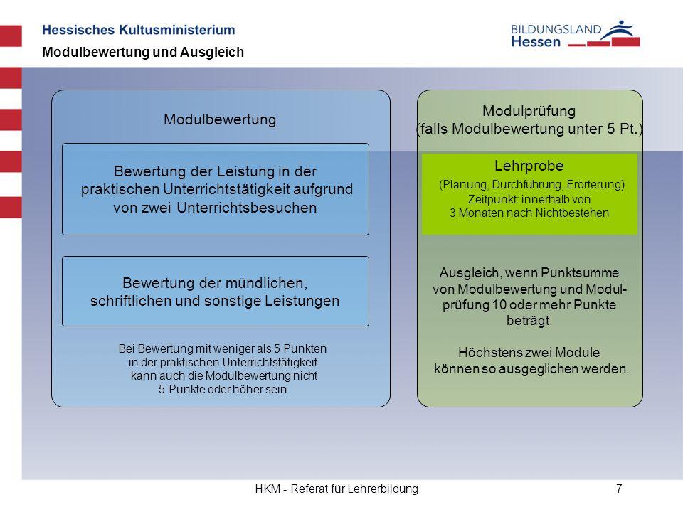HKM - Referat für Lehrerbildung7 Bewertung der Leistung in der praktischen Unterrichtstätigkeit aufgrund von zwei Unterrichtsbesuchen Modulbewertung u
