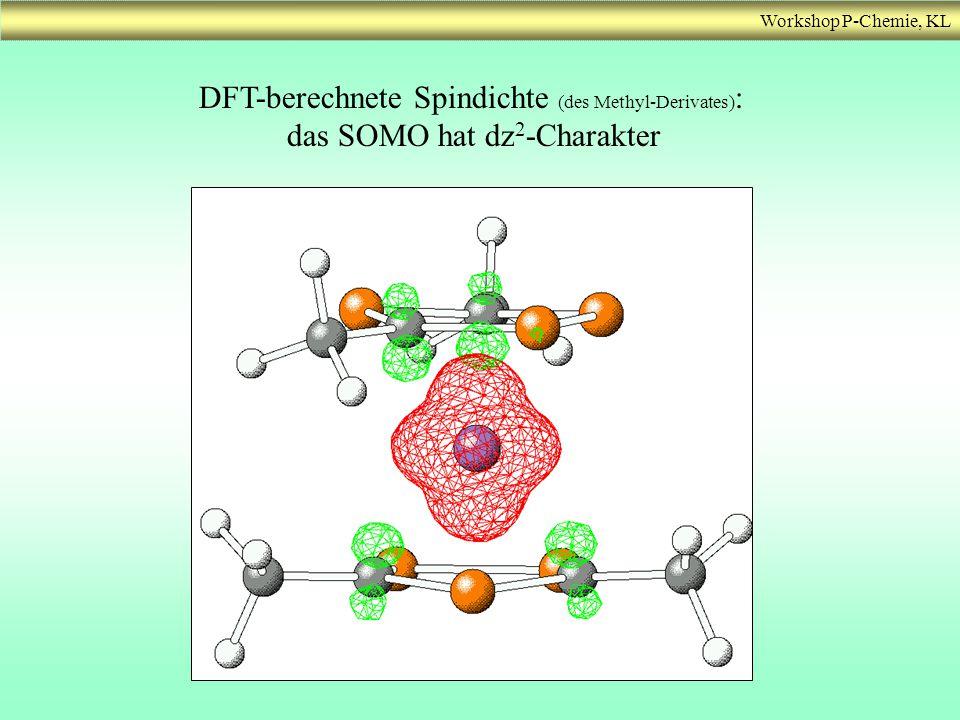DFT-berechnete Spindichte (des Methyl-Derivates) : das SOMO hat dz 2 -Charakter
