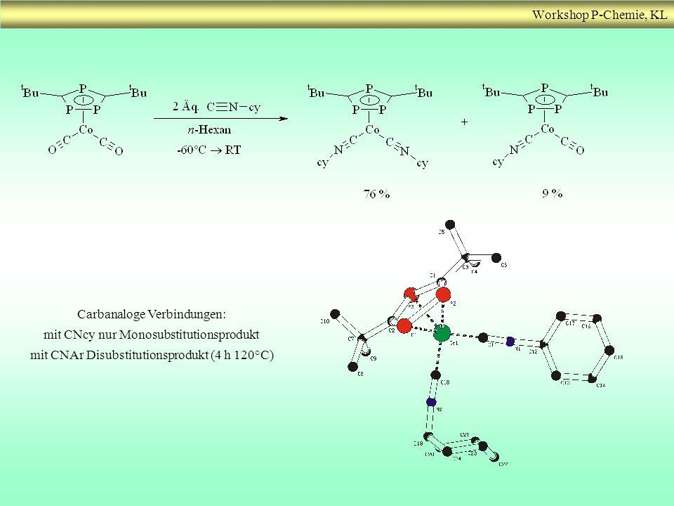 Workshop P-Chemie, KL Carbanaloge Verbindungen: mit CNcy nur Monosubstitutionsprodukt mit CNAr Disubstitutionsprodukt (4 h 120°C)