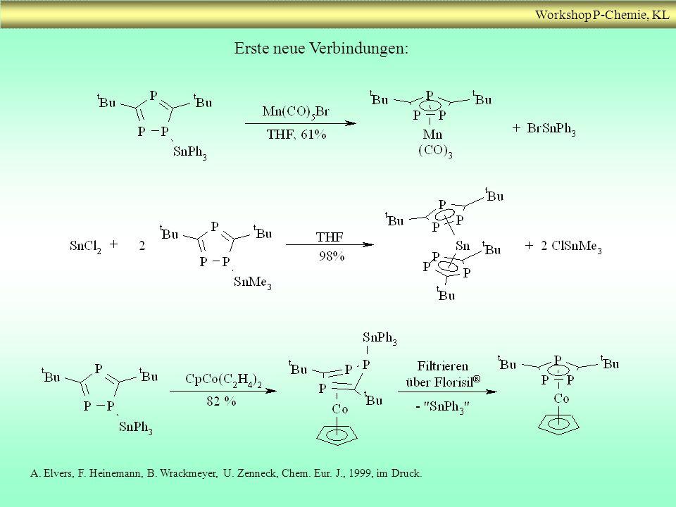 Workshop P-Chemie, KL Erste neue Verbindungen: A. Elvers, F. Heinemann, B. Wrackmeyer, U. Zenneck, Chem. Eur. J., 1999, im Druck.