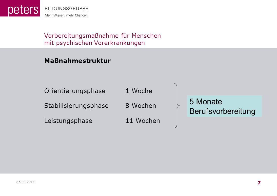 27.05.2014 7 Vorbereitungsmaßnahme für Menschen mit psychischen Vorerkrankungen Maßnahmestruktur Orientierungsphase1 Woche Stabilisierungsphase8 Woche