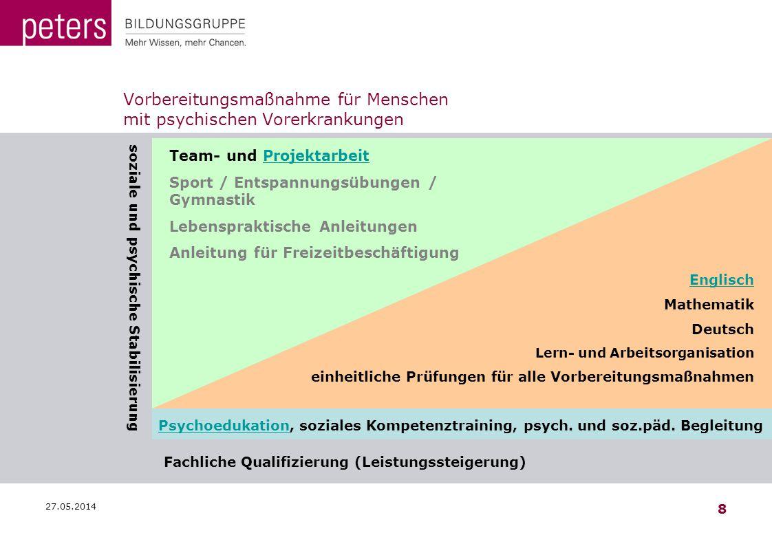 27.05.2014 8 Vorbereitungsmaßnahme für Menschen mit psychischen Vorerkrankungen soziale und psychische Stabilisierung PsychoedukationPsychoedukation,