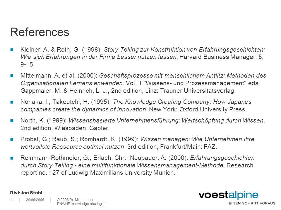 || Division Stahl 1120/06/2006© 2006 Dr.Mittelmann, ENWHP-knowledge-sharing.ppt Kleiner, A.