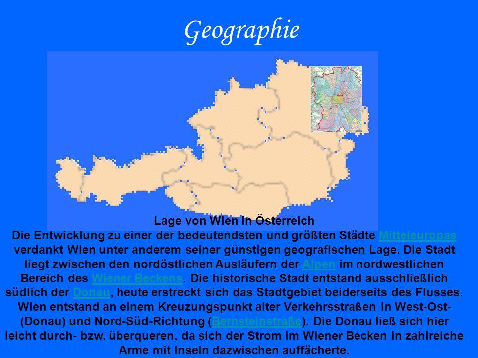 Geographie Lage von Wien in Österreich Die Entwicklung zu einer der bedeutendsten und größten Städte Mitteleuropas verdankt Wien unter anderem seiner