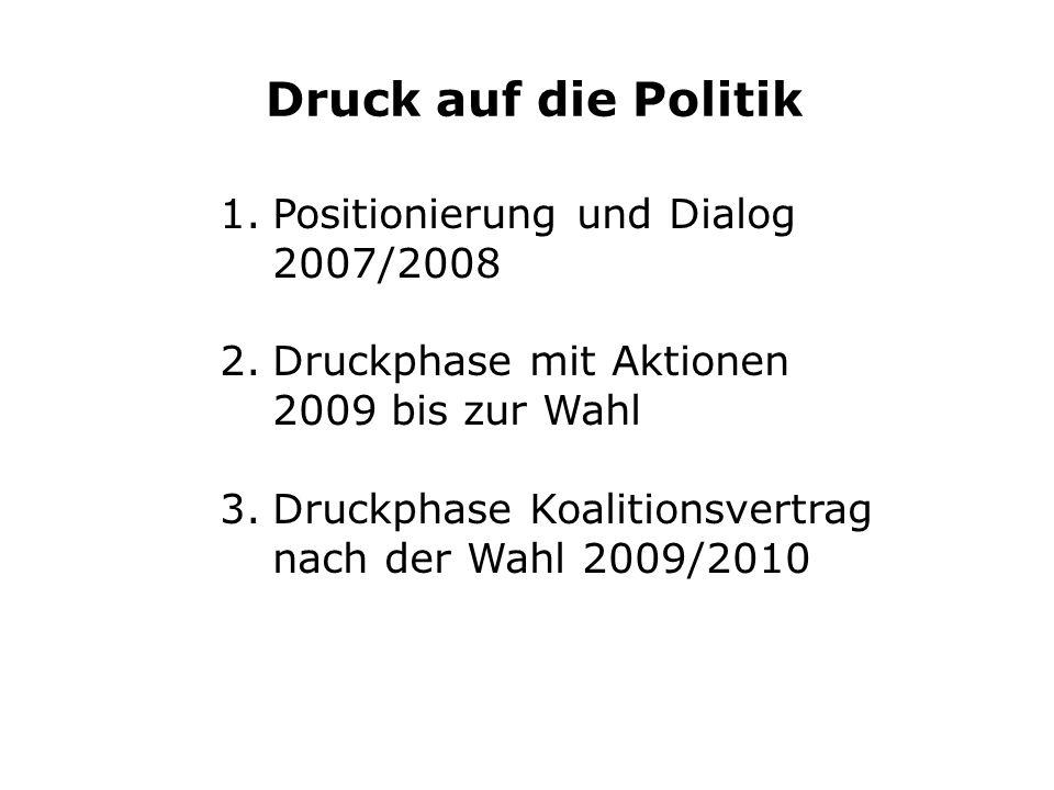 Druck auf die Politik 1.Positionierung und Dialog 2007/2008 2.Druckphase mit Aktionen 2009 bis zur Wahl 3.Druckphase Koalitionsvertrag nach der Wahl 2009/2010