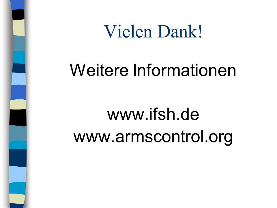 Vielen Dank! Weitere Informationen www.ifsh.de www.armscontrol.org