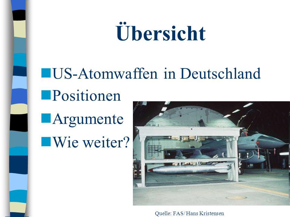 Übersicht US-Atomwaffen in Deutschland Positionen Argumente Wie weiter? Quelle: FAS/ Hans Kristensen