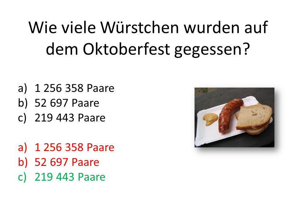Wie viele Würstchen wurden auf dem Oktoberfest gegessen.