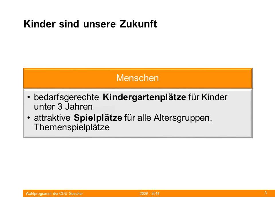 Wahlprogramm der CDU Gescher 2009 - 2014 3 Kinder sind unsere Zukunft Menschen bedarfsgerechte Kindergartenplätze für Kinder unter 3 Jahren attraktive Spielplätze für alle Altersgruppen, Themenspielplätze