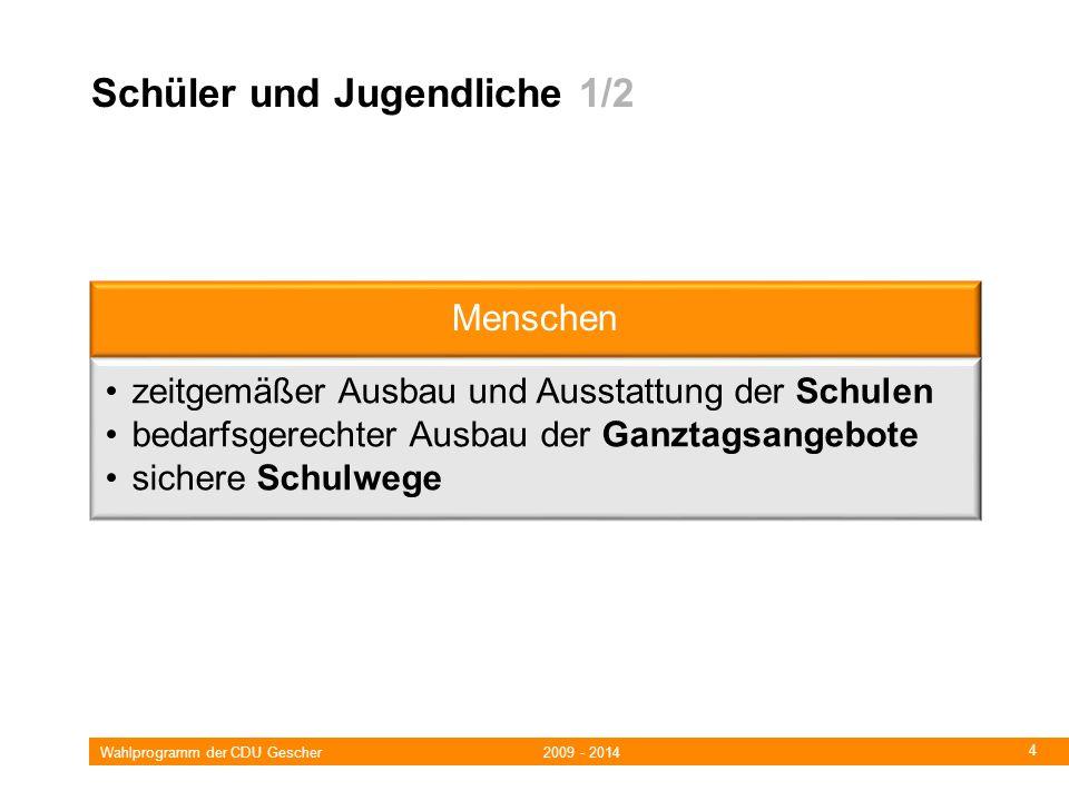 Wahlprogramm der CDU Gescher 2009 - 2014 4 Schüler und Jugendliche 1/2 Menschen zeitgemäßer Ausbau und Ausstattung der Schulen bedarfsgerechter Ausbau der Ganztagsangebote sichere Schulwege