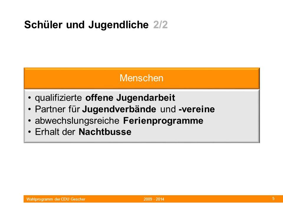 Wahlprogramm der CDU Gescher 2009 - 2014 5 Schüler und Jugendliche 2/2 Menschen qualifizierte offene Jugendarbeit Partner für Jugendverbände und -vereine abwechslungsreiche Ferienprogramme Erhalt der Nachtbusse