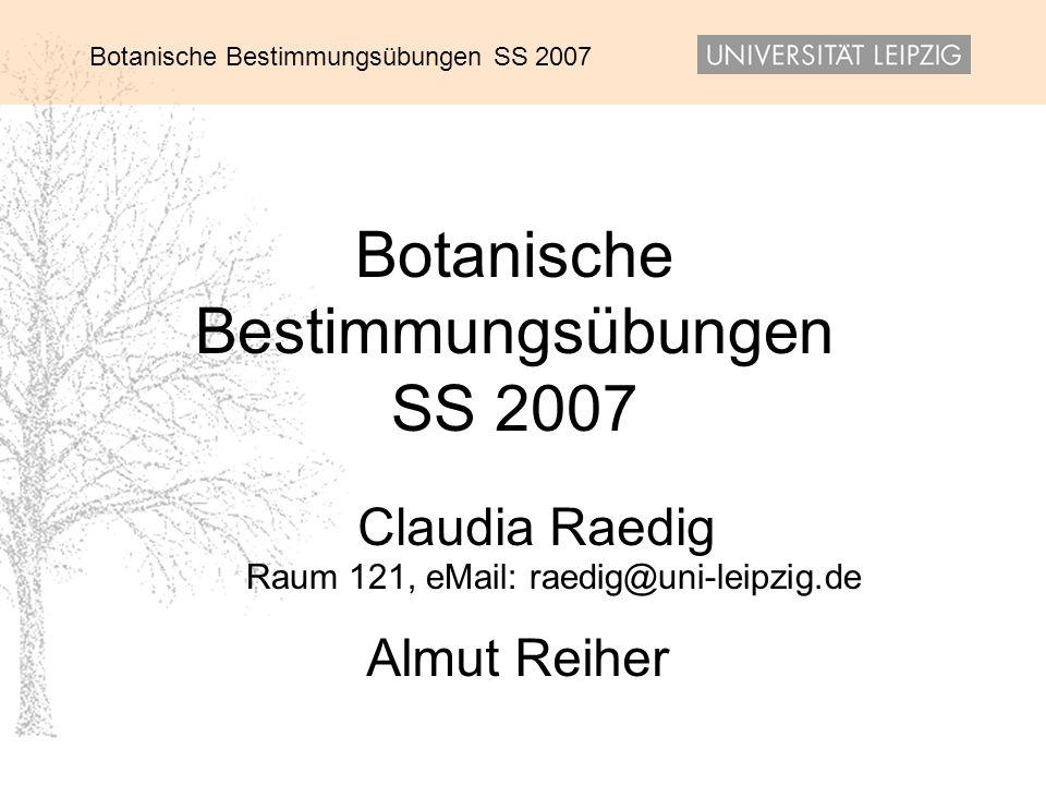 Botanische Bestimmungsübungen SS 2007 Claudia Raedig Almut Reiher Raum 121, eMail: raedig@uni-leipzig.de
