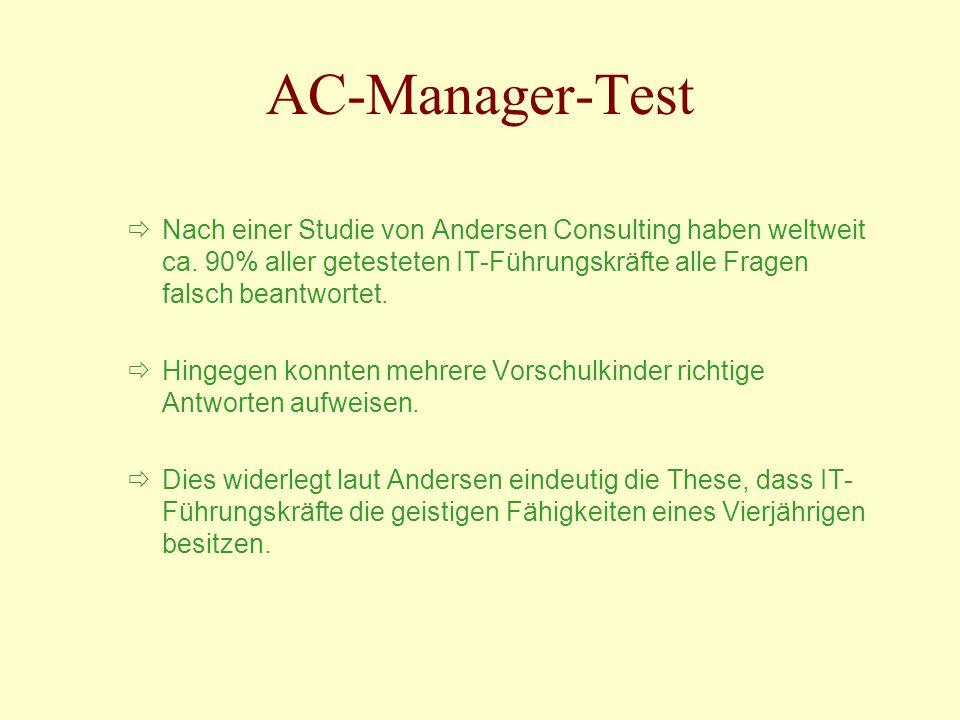 Nach einer Studie von Andersen Consulting haben weltweit ca. 90% aller getesteten IT-Führungskräfte alle Fragen falsch beantwortet. Hingegen konnten m