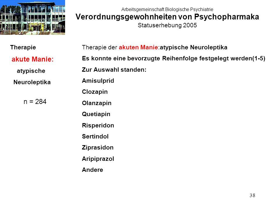 38 Arbeitsgemeinschaft Biologische Psychiatrie Verordnungsgewohnheiten von Psychopharmaka Statuserhebung 2005 Therapie akute Manie: atypische Neurolep