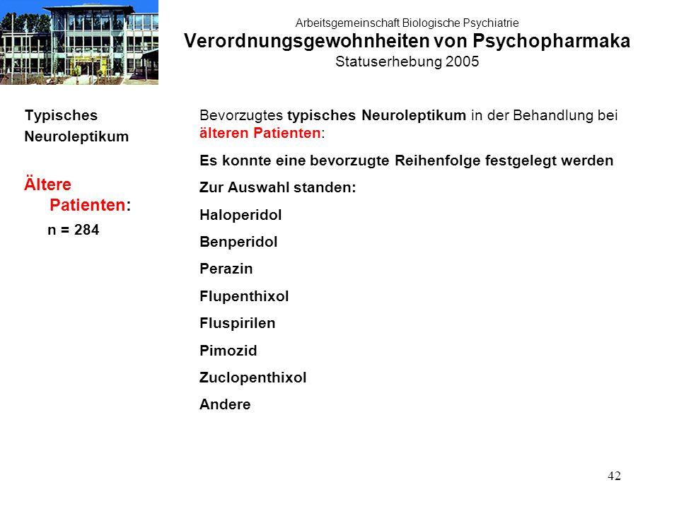 42 Arbeitsgemeinschaft Biologische Psychiatrie Verordnungsgewohnheiten von Psychopharmaka Statuserhebung 2005 Typisches Neuroleptikum Ältere Patienten