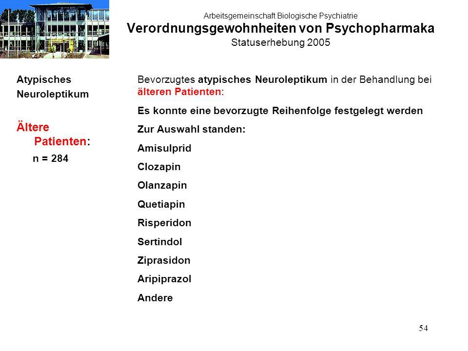 54 Arbeitsgemeinschaft Biologische Psychiatrie Verordnungsgewohnheiten von Psychopharmaka Statuserhebung 2005 Atypisches Neuroleptikum Ältere Patiente