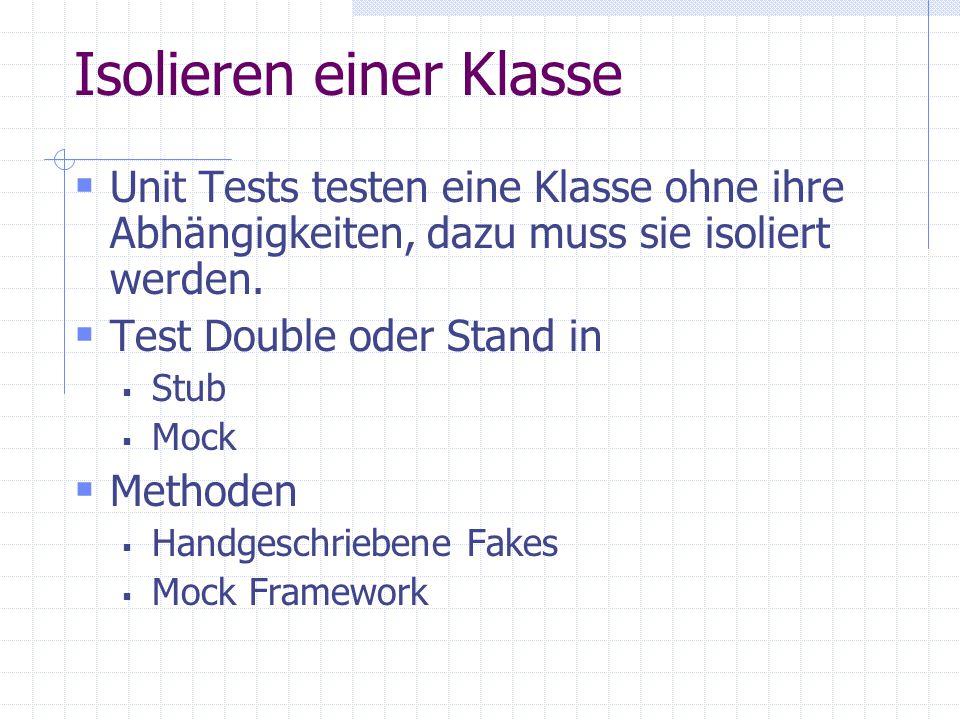 Isolieren einer Klasse Unit Tests testen eine Klasse ohne ihre Abhängigkeiten, dazu muss sie isoliert werden. Test Double oder Stand in Stub Mock Meth