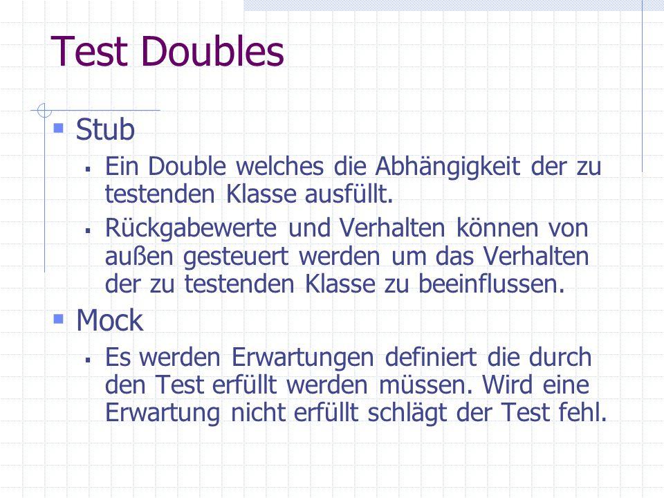 Test Doubles Stub Ein Double welches die Abhängigkeit der zu testenden Klasse ausfüllt. Rückgabewerte und Verhalten können von außen gesteuert werden