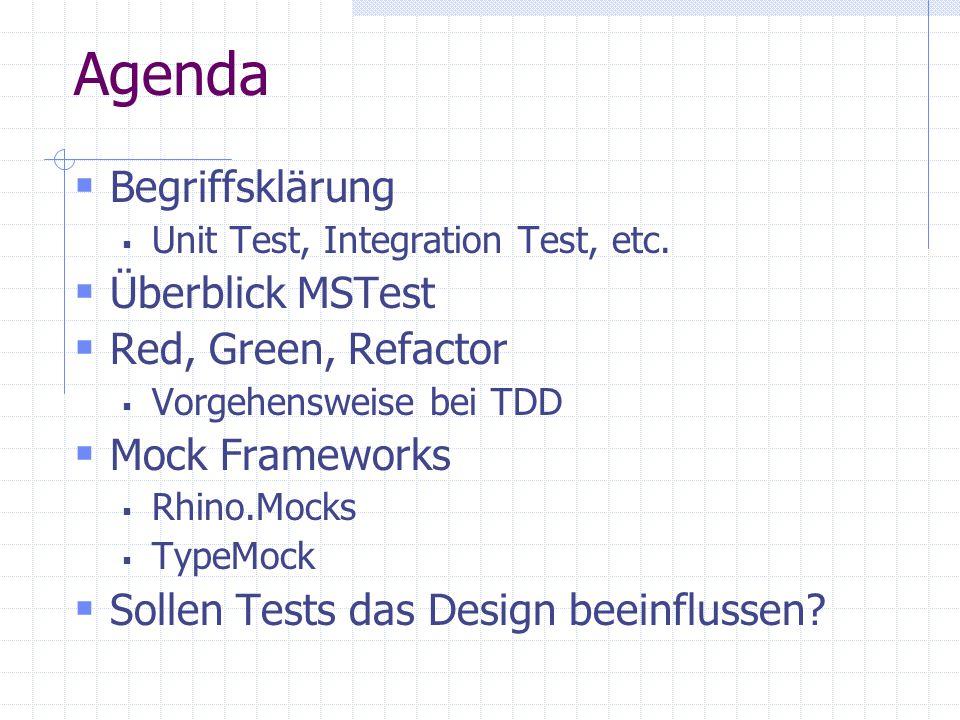 Agenda Begriffsklärung Unit Test, Integration Test, etc. Überblick MSTest Red, Green, Refactor Vorgehensweise bei TDD Mock Frameworks Rhino.Mocks Type