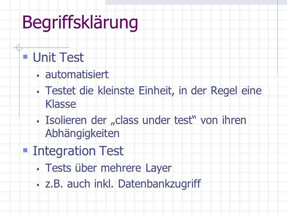 Begriffsklärung Unit Test automatisiert Testet die kleinste Einheit, in der Regel eine Klasse Isolieren der class under test von ihren Abhängigkeiten