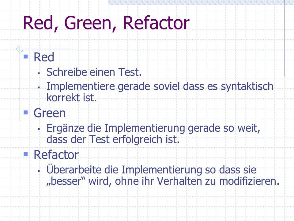 Red, Green, Refactor Red Schreibe einen Test. Implementiere gerade soviel dass es syntaktisch korrekt ist. Green Ergänze die Implementierung gerade so