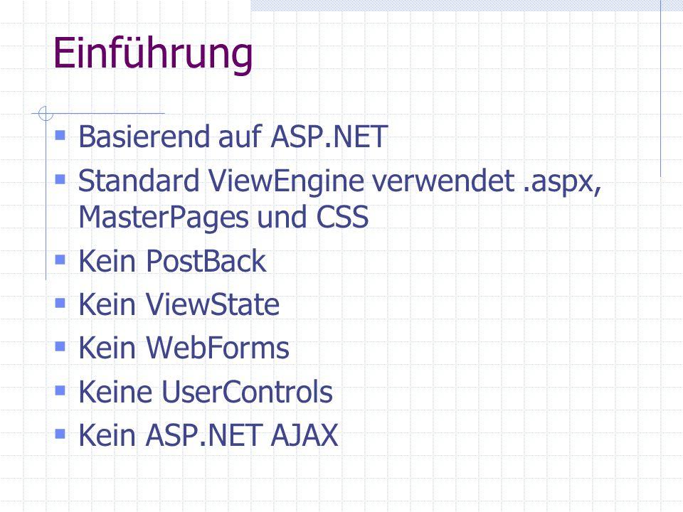 Einführung Basierend auf ASP.NET Standard ViewEngine verwendet.aspx, MasterPages und CSS Kein PostBack Kein ViewState Kein WebForms Keine UserControls Kein ASP.NET AJAX