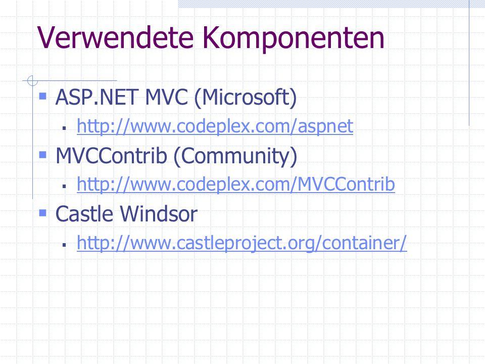Verwendete Komponenten ASP.NET MVC (Microsoft) http://www.codeplex.com/aspnet MVCContrib (Community) http://www.codeplex.com/MVCContrib Castle Windsor http://www.castleproject.org/container/