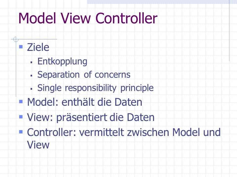 Model View Controller Ziele Entkopplung Separation of concerns Single responsibility principle Model: enthält die Daten View: präsentiert die Daten Controller: vermittelt zwischen Model und View