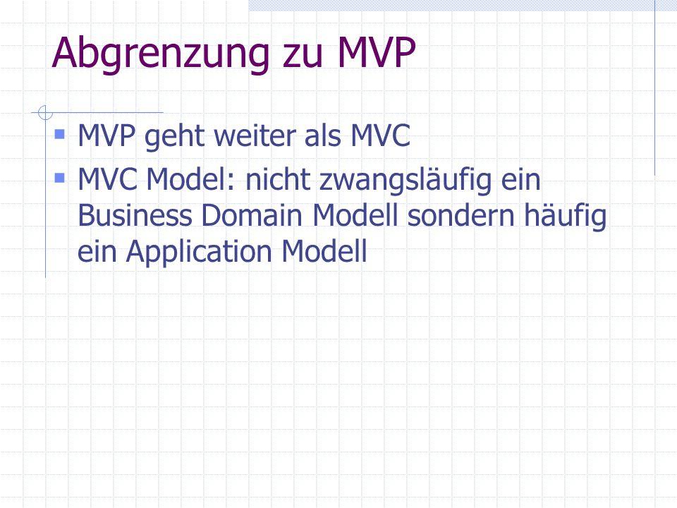 Abgrenzung zu MVP MVP geht weiter als MVC MVC Model: nicht zwangsläufig ein Business Domain Modell sondern häufig ein Application Modell