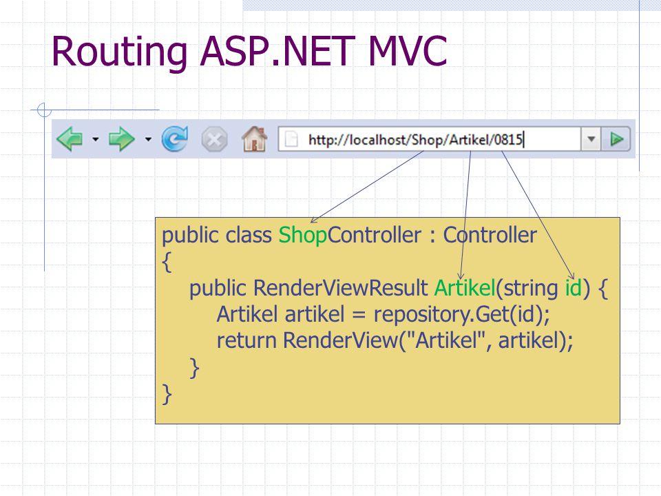 Routing ASP.NET MVC public class ShopController : Controller { public RenderViewResult Artikel(string id) { Artikel artikel = repository.Get(id); return RenderView( Artikel , artikel); }