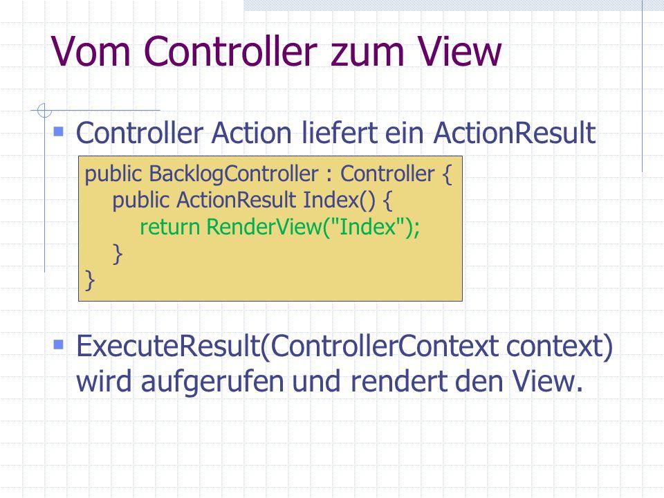 Vom Controller zum View Controller Action liefert ein ActionResult ExecuteResult(ControllerContext context) wird aufgerufen und rendert den View.