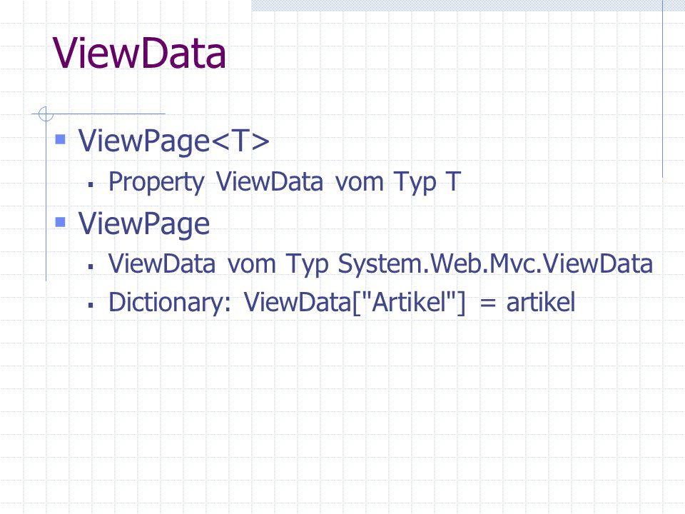 ViewData ViewPage Property ViewData vom Typ T ViewPage ViewData vom Typ System.Web.Mvc.ViewData Dictionary: ViewData[ Artikel ] = artikel