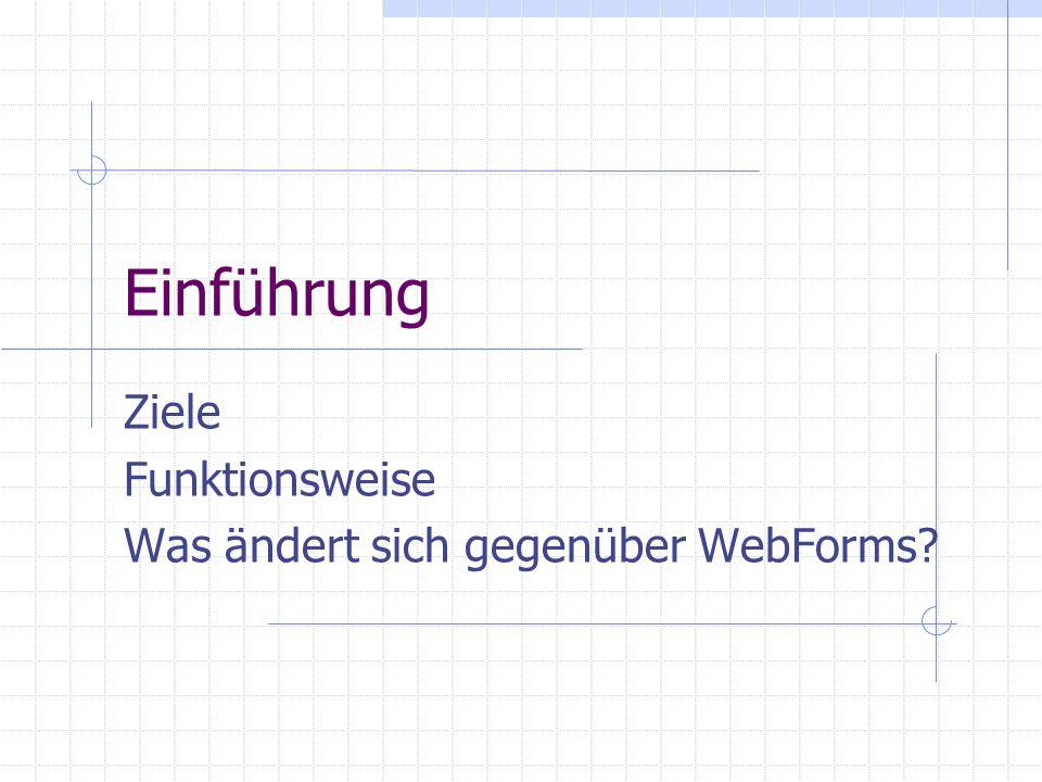 Einführung Ziele Funktionsweise Was ändert sich gegenüber WebForms