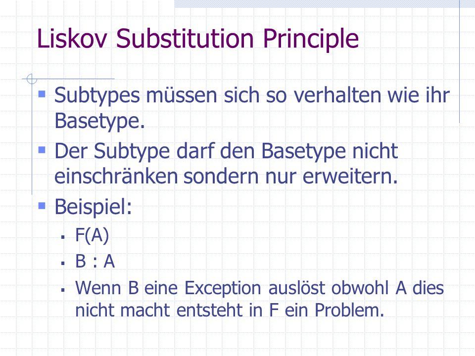 Liskov Substitution Principle Subtypes müssen sich so verhalten wie ihr Basetype.