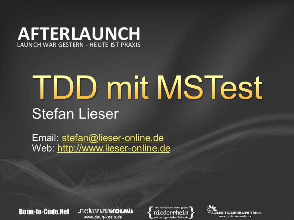 www.dnug-koeln.de www.justcommunity.de Stefan Lieser Email: stefan@lieser-online.destefan@lieser-online.de Web: http://www.lieser-online.dehttp://www.