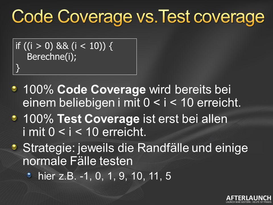 100% Code Coverage wird bereits bei einem beliebigen i mit 0 < i < 10 erreicht. 100% Test Coverage ist erst bei allen i mit 0 < i < 10 erreicht. Strat