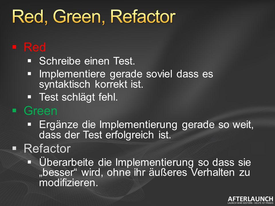 Red Schreibe einen Test. Implementiere gerade soviel dass es syntaktisch korrekt ist. Test schlägt fehl. Green Ergänze die Implementierung gerade so w