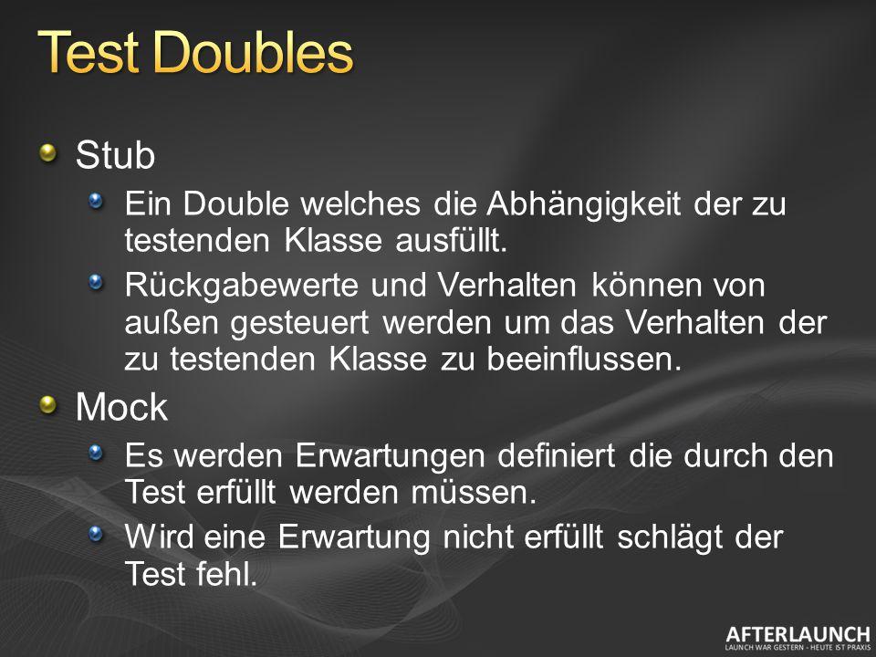 Stub Ein Double welches die Abhängigkeit der zu testenden Klasse ausfüllt. Rückgabewerte und Verhalten können von außen gesteuert werden um das Verhal