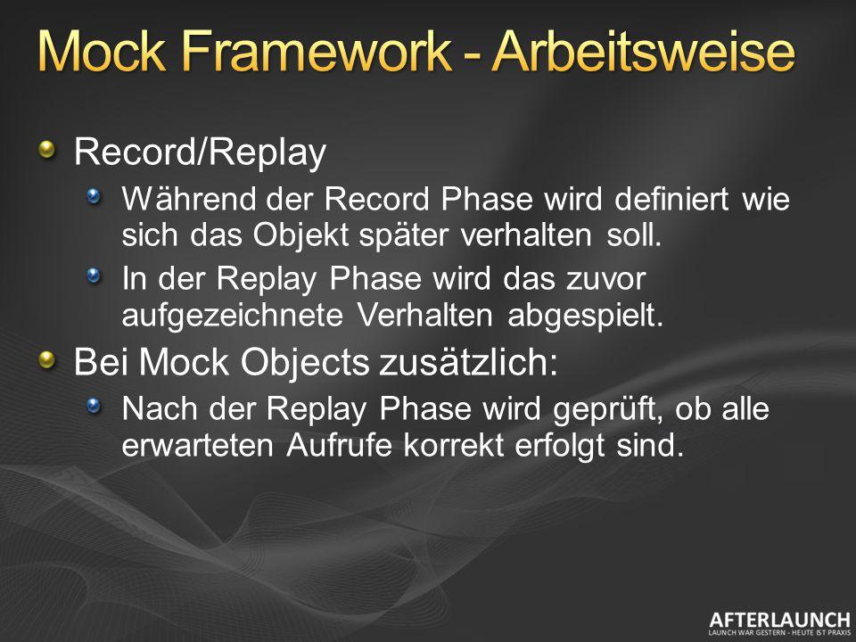 Record/Replay Während der Record Phase wird definiert wie sich das Objekt später verhalten soll. In der Replay Phase wird das zuvor aufgezeichnete Ver
