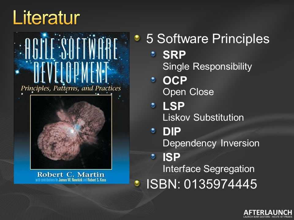5 Software Principles SRP Single Responsibility OCP Open Close LSP Liskov Substitution DIP Dependency Inversion ISP Interface Segregation ISBN: 0135974445