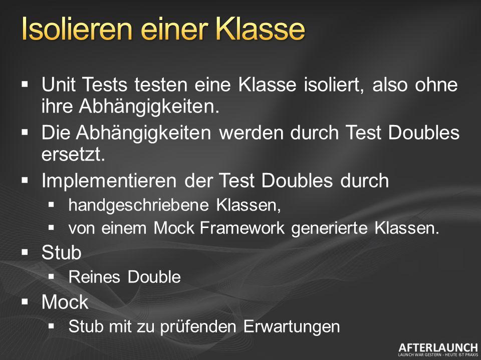 Unit Tests testen eine Klasse isoliert, also ohne ihre Abhängigkeiten.