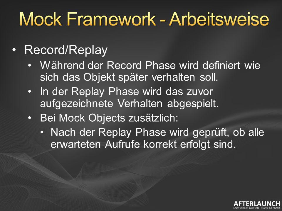 Record/Replay Während der Record Phase wird definiert wie sich das Objekt später verhalten soll.