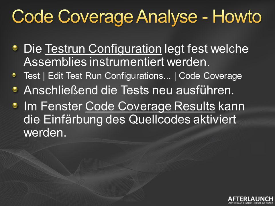 Die Testrun Configuration legt fest welche Assemblies instrumentiert werden.
