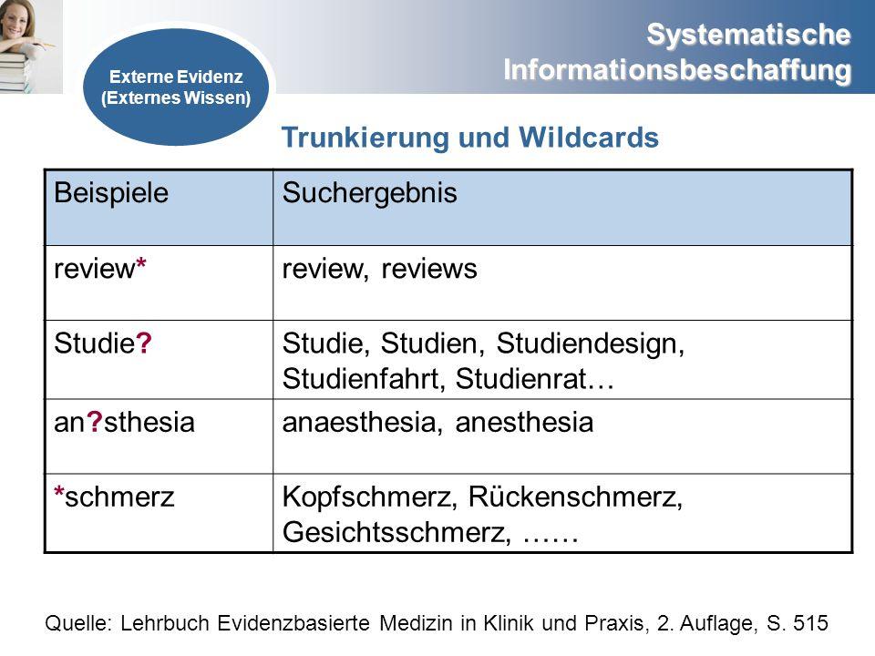 Systematische Informationsbeschaffung Externe Evidenz (Externes Wissen) BeispieleSuchergebnis review*review, reviews Studie?Studie, Studien, Studiende